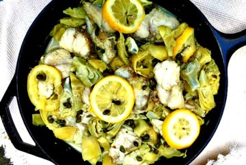 Monkfish w/Artichokes and Capers